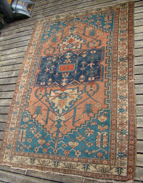Small Heriz/Serapi rug. 52X72 inches...132X214 Cm. Does need a bath.