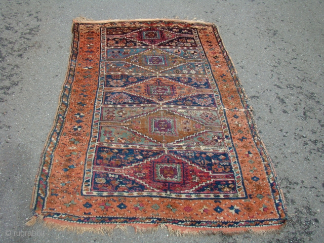 "Anatolian Yoruk rug with generally good pile, opened up creases as shown. 52""X87""....132X221 Cm."