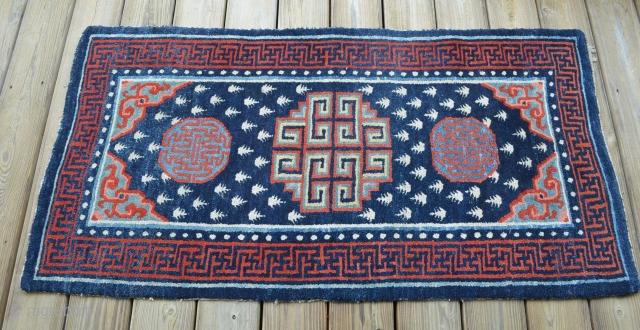 """Very nice Tibetan carpet, measures 28 1/2"""" x 54"""".  Believe the piece to be around 1900, nice condition."""