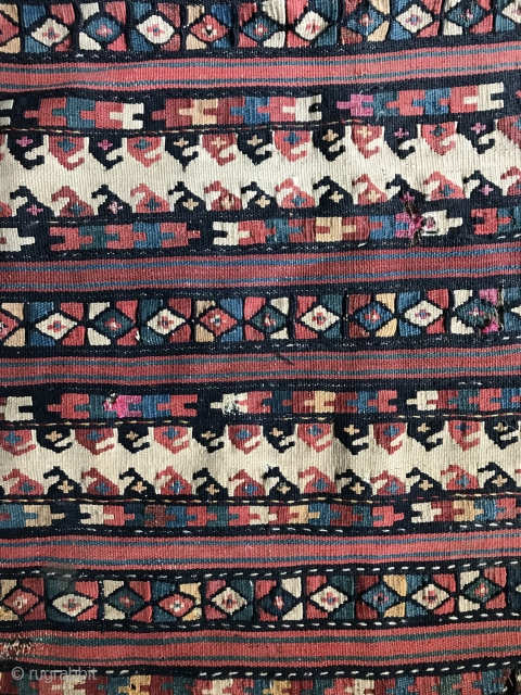 An exceptional Antique Caucasian flat weave bag dating to the 19th century. It is a very unusual to see flatweave from the Caucasus in this design format. The colours are magnificent....just mind  ...