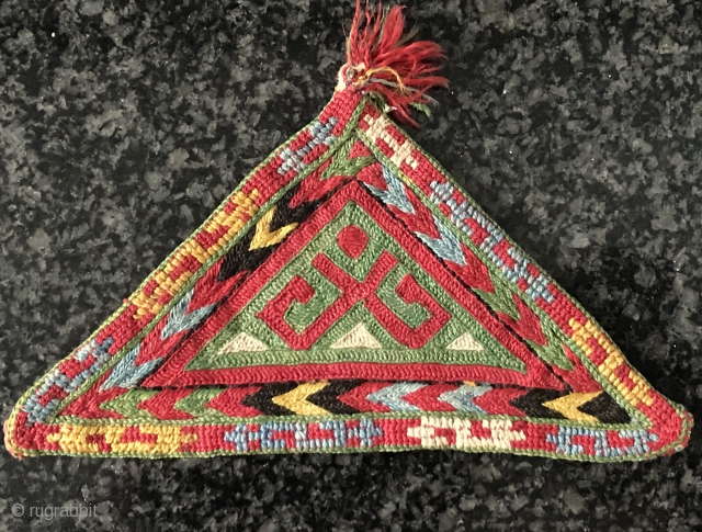 A brilliant Antique Ersari Turkoman / Turkmen Talismanic silk embroidery tawees / moska, dating to 19th century. Such fine triangular silk embroideries were known as moskas or tawees and to made to  ...