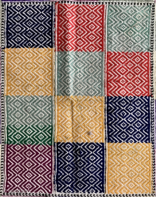 A fine example of Afghan Hazara silk embroidered ceremonial textile. These very fine textiles were used as wrapping for a clay tablet with scripture known as Turbah (part of prayer ritual of  ...