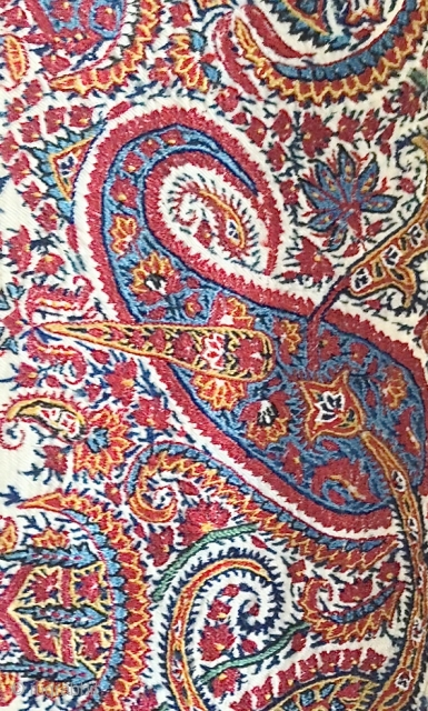 An exceptional mid 19th Century antique Mughal Indian Jamawar robe woven and embroidered with Pashmina wool. It is an exceptional piece of weaving as fine as silk if not finer. The colours  ...