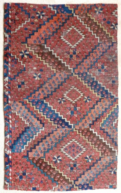 "A beautiful fragment from an Ersari Beshir main carpet. Middle Amu Darya region, early 19th Century. The four sides are secured by ticking sewn on the back. 4'2"" x 2'6"" / 127  ..."