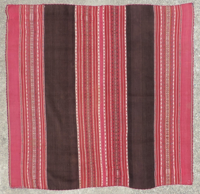 19th century Aymara Woman's mantle (awayo).  Textiles such as this, made by the indigenous Aymara populations of the high Altiplano of Bolivia are among the finest and most sophisticated textiles ever  ...