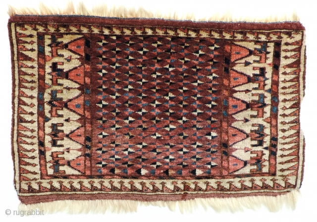 Unique and collectable Yomud Turkmen bag face.  Mid 19th century.  I am unaware of other Yomud pieces in this design and format.  Pieces in related designs are rare, most  ...