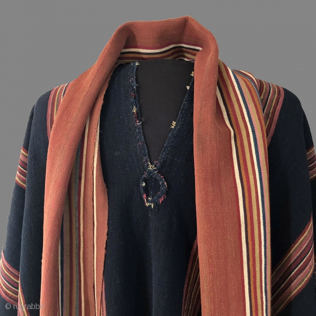 Aymara chieftain's ceremonial attire. Bolivian altiplano. 19th century. This arrangement of Aymara warp faced textile garments would be worn by a hereditary leader for ceremonial occasions and would signal his importance within  ...