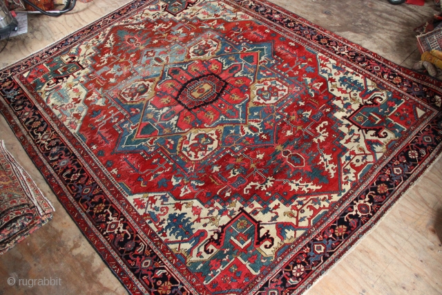 "Serapi Heriz circa 1900 10'7"" x 12'6"" in decent condition, finer than average. Nice to see the light blue medallion. A striking and handsome carpet."