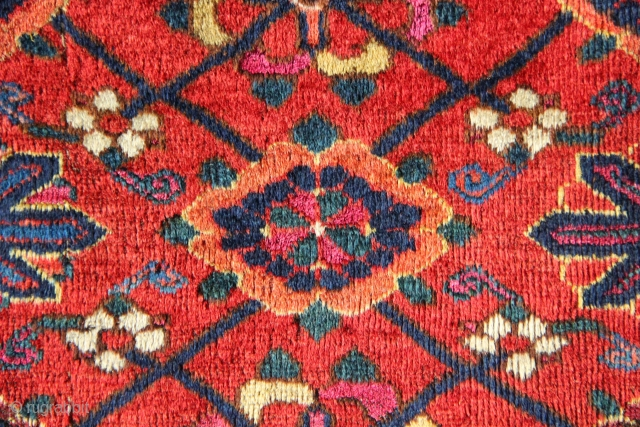 """Colourful, fine, huge old Beshir chuval 2'10"""" x 6'0"""" circa 1850. A real colour riot! Trimmed sides, wear and moth damage. Probably some holes too."""