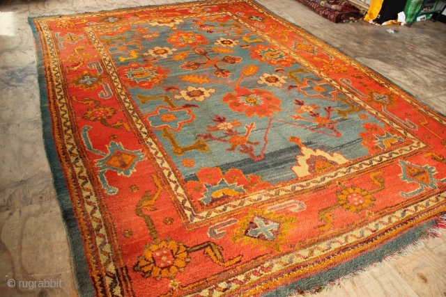 "Antique Oushak carpet 8'7"" x 12'0"""