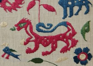 early 18th century Epirus embroideries, mounted. See them at Arts!  http://artsrugshow.net/register-for-the-arts-opening/