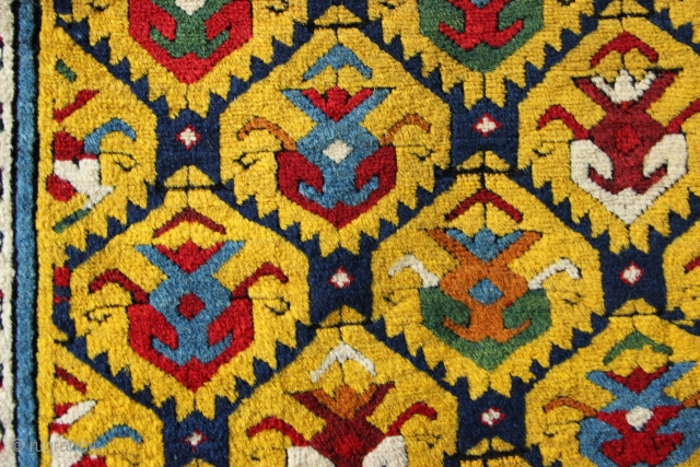 Golden yellow ground mid nineteenth century South Caucasian long rug in excellent condition. Please contact for more details.