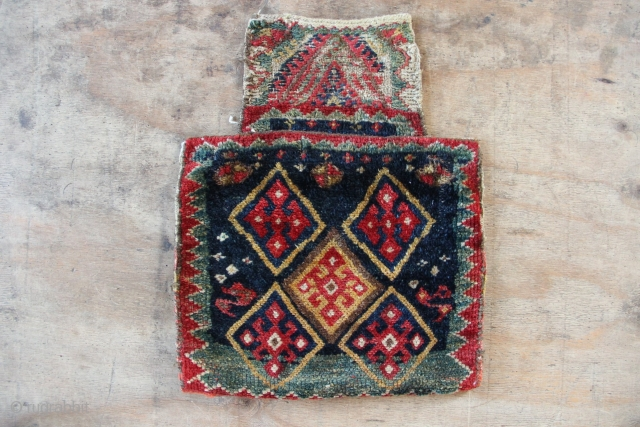 Rare and beautiful Jaf saltbag, all natural dyes, circa 1900. Also has very attractive flatweave backside.