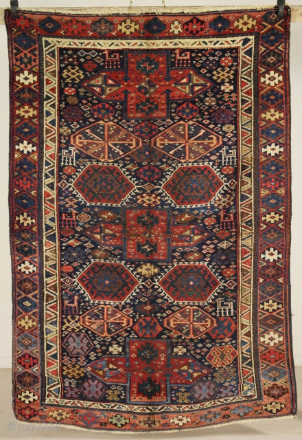 Particular, unsual and rarely, Kurdish Tribal Rug end 1800 (1880) natural dyes, with caucasian motifs, very good conditions, full pile.