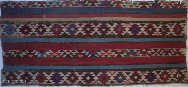 Transcaucasus Shahsevan kilim fragment, 59 x 26 inches.  Full original width excerpt from a large 19th century kilim.