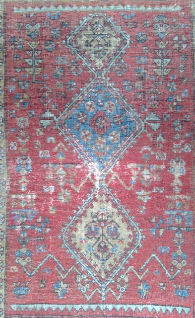"Red Field with 3 Conjoined Unequal Diamond Medallions, Very Old Bijar Kurd, probably mid-19th century or earlier. 3'6"" x 5'5"". Heavy wear with corduroy effect, at both ends outer borders rewoven. Freshly  ..."