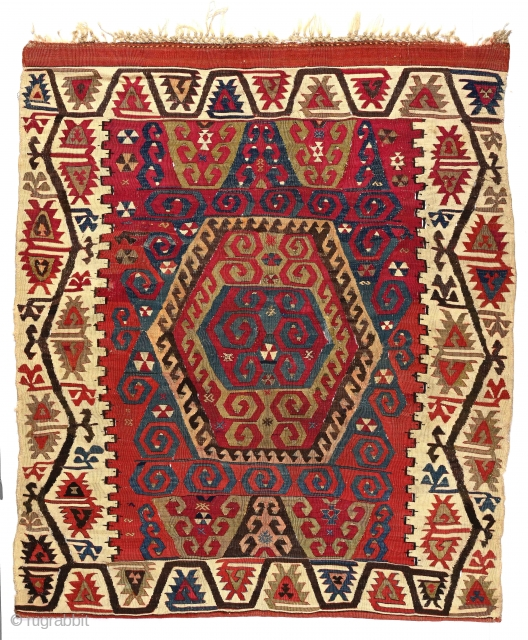 Anatolian kilim. 54 x 61 inches. Mid-19th century.--Congratulations RugRabbit on reaching 50 000 posts!
