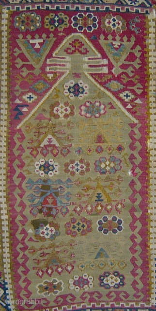 PK-073 Antique east central Anatolian niche kilim, 91 x 135 cm (36 x 53 inches). Very fine tight weave, many old repairs of varying quality. Still packs a punch. Please use johnbatki@gmail.com