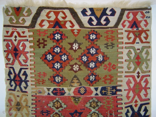 Early Central Anatolian kelim of petite dimensions,with areas in white cotton