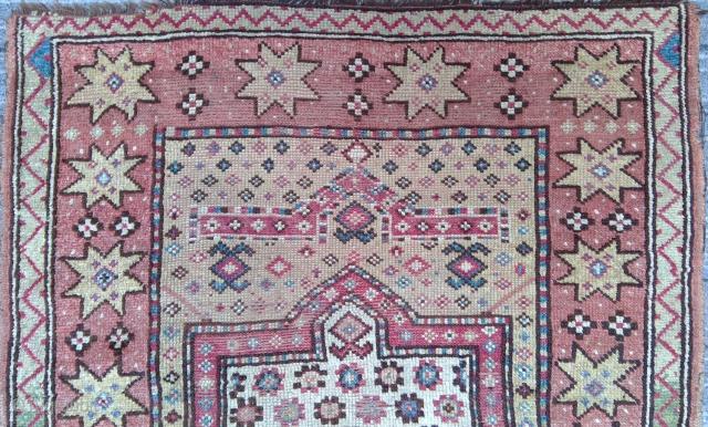 Antique Manastir prayer rug, Rosettes on Ivory field, 43 x 55 inches