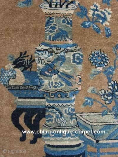 "A Mongolia dragon vase antique carpet S/N:I0846 circa:120years  1.34 X 0.9 m (53in.X 35in.) Paraphrasing of the Dermatoglyphic Pattern: ""Buogu"" Dragon pattern Peach"