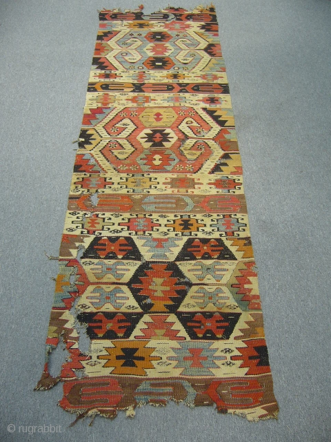 Central Anatolian Kilim, Early 19th Century, 2' 5'' x 7' 9'', lovely soft colors.