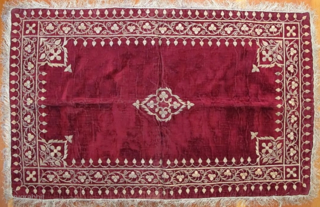 "Persian Velvet Sofreh with metal thread, 2' 3"" x 3' 4"", Circa 1900"