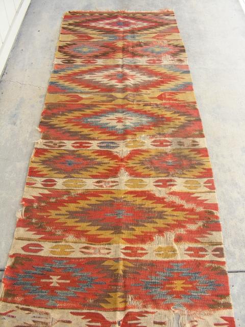 "Anatolian Kilim, 3' 4"" x 10' 2"", Late 19th Century.  Calm, harmonious color tones."
