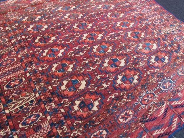 "Square Tekke, 3' 3"" x 3' 7"", 19th Century.  Unique square sized Tekke, excellent colors and condition, some cotton highlights."