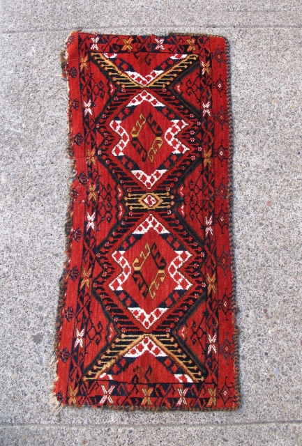 "Bashir Torba with Ikat design, 1' 5"" x 3' 2"", 19th Century"
