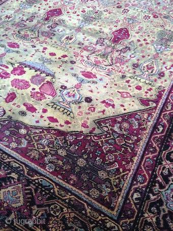 "Indian Silk Rug, 3' 8"" x 4' 3"", Mid 19th Century"