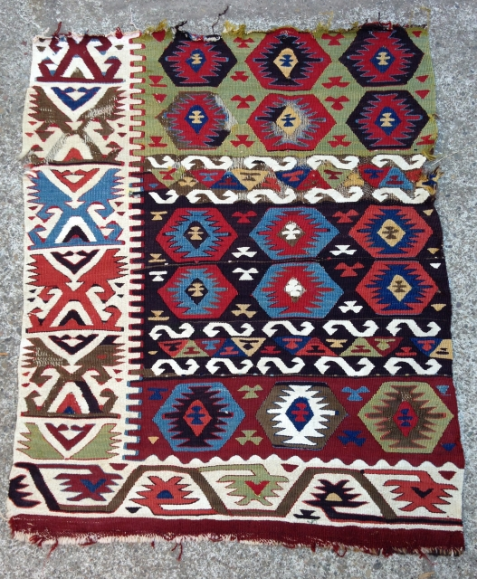 "Kilim fragment, 2' 9"" x 3' 4"", East Anatolia, Late 19th Century"