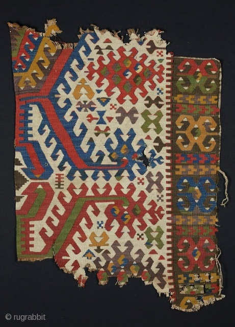 Konya Kilim Fragment, Central Anatolia, Early 19th Century, 2' 8'' x 3' 8''.  Dynamic motifs, excellent colors.