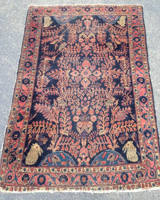 "Unique Sarouk, 3' 5"" x 4' 11"", circa 1900"