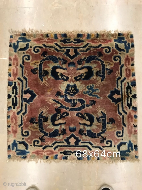 Alashan right banner small carpet, size 68x64cm, about the beginning of the 20th century, local small repair, welcome to consult!