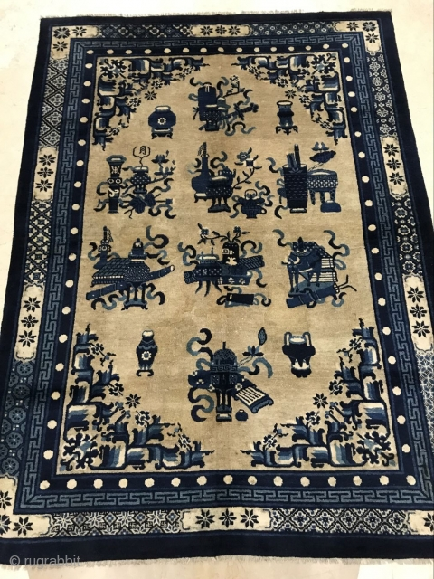 Baotao Inner Mongolia rug, 230x168cm in size, dating from the early 20th century or so, partially restored