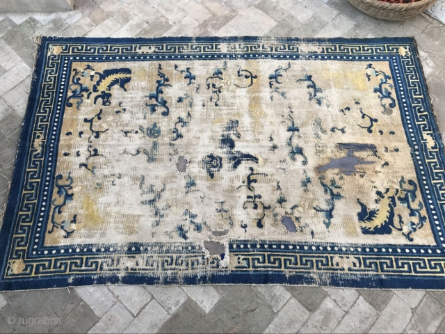 Ningxia carpet nine lion pictures, the time around 1850, size 234cmx150cm, because of network reasons more detail can not be sent, who has the interest can give more detail, welcome to the  ...