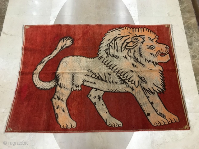 Xinjiang carpet with lion, dimension 198x142cm welcome consultation!