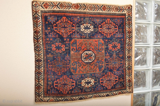 Gorgeous, Early and  Colorful Baluch Bagface with Bow and Arrow border.