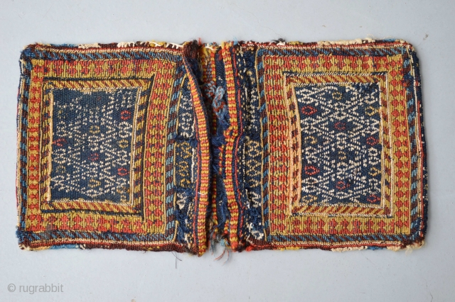 Antique Dimutive Sumak Original... compleet condition khorjin bag.Top qualty soft wool..