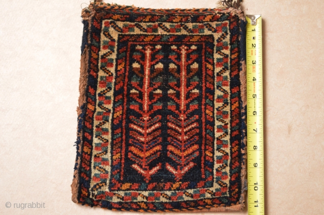 Diminutive Colorful end 19th century Rare type Afshar Bag/Chanteh approximately 30x24 centimeters or 11.5 x 9.5 inches... As found