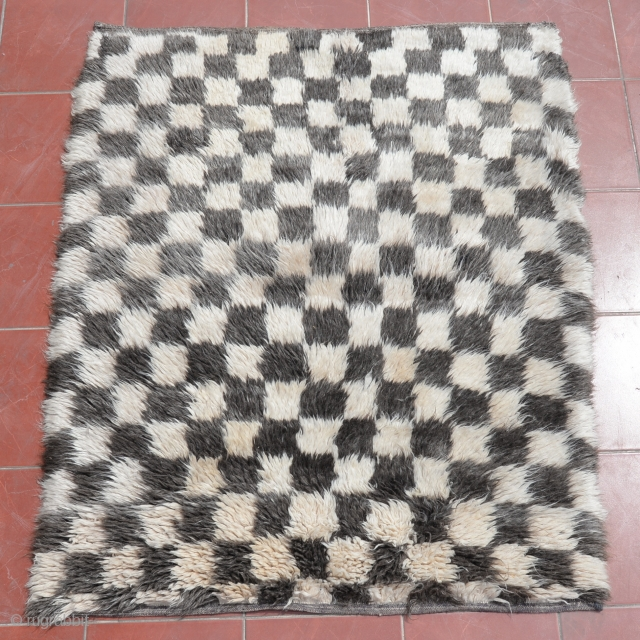 "A vintage hand-knotted ""Chessboard Tulu"" (Turkish word for ""thick piled"") rug from Konya in Central Turkey. 100% Natural undyed sheep wool. size:151x126cm