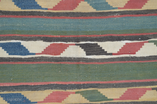 "Caucasian Kazak Kilim,  19th Century (some old repaired)  Size:240 x 190 Cm 7'8""x6'3"""