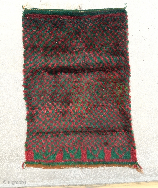 Central Anatolian Tulu Rug-decorated with a pattern of squares-Size:120 x 188 Cm                       ...