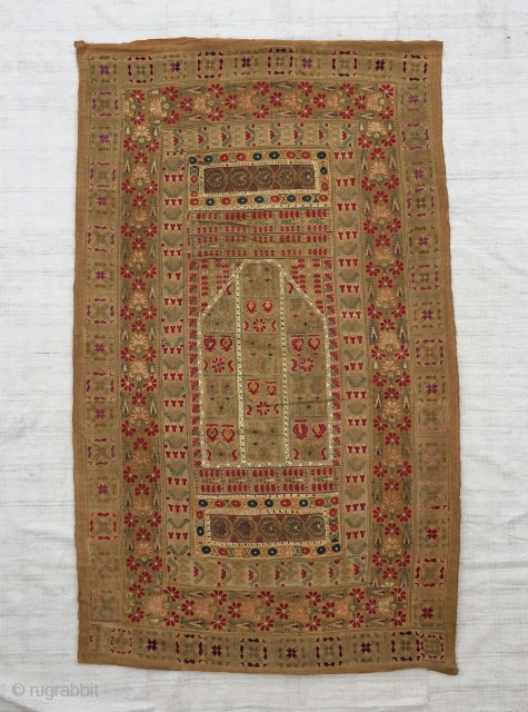 """Ottoman Greek embroidery arched prayer panel known as a quibla.Size:154x94 cm/5""""X3'1"""" It is composed of various antique Ottoman Greek embroideries in order to create a prayer mat, which are probably from the  ..."""
