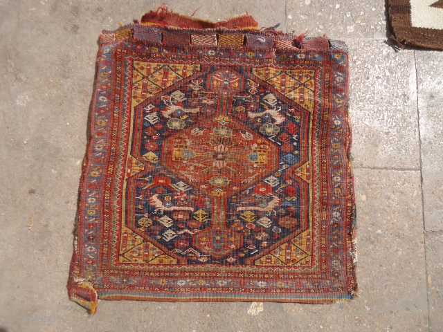"""Qashqai Bagface with birds and beautiful design,original kilim backing and extra fine weave.Size 1'11""""*1'11"""".E,nail for more info and pics."""