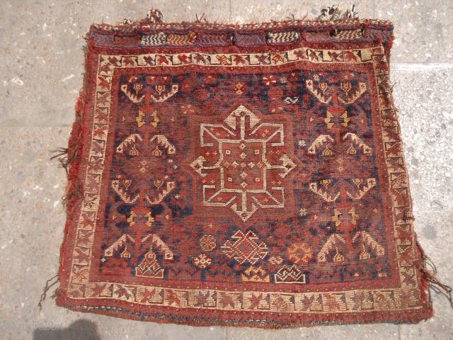 "Very Fine Qashqai Bagface with condition issues,all great natural colors,original kilim backing.without any repair or work done.Size 2'2""*1'11"".E.mail for more info and pics."