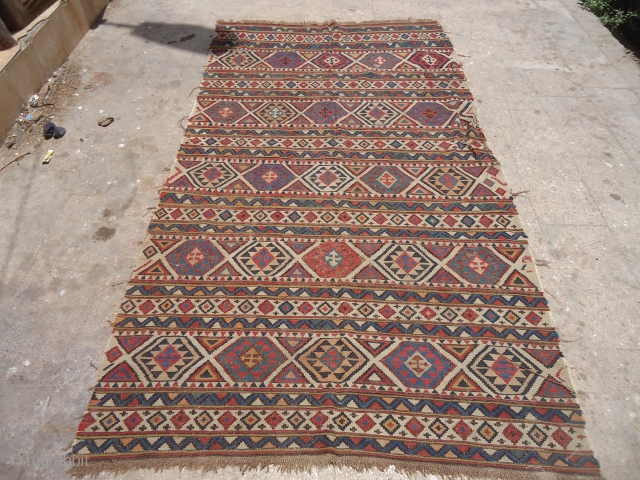 "Beautiful Shirvan Kilim with good colors,all original just oxidation to black.Size 9'9""*5'4"".E.mail for more info and pics."