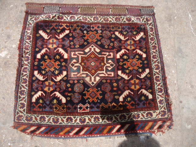 """Qashqai Colorful bagface with great natural colors and soft shiny wool,nice design and condition.Size 2'3""""*2'2"""".E.mail for more info and pics."""