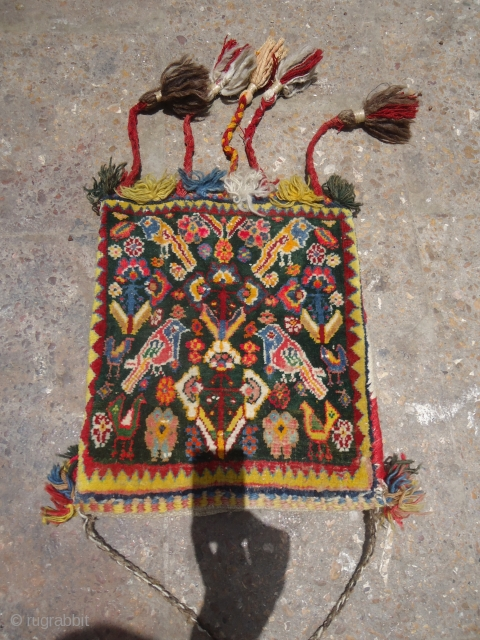 Rare green ground Qashqai or Shiraz Bag with great colors and beautiful Kilim backing,very nice desigen,all beautiful colors,All original.E.mail for more info and pics.